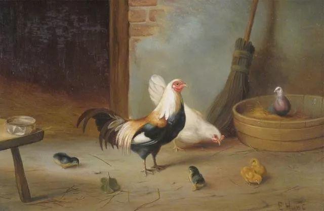 院子里的家禽,英国画家埃德加·亨特插图49