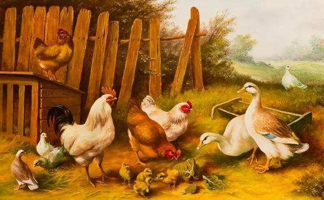 院子里的家禽,英国画家埃德加·亨特插图51