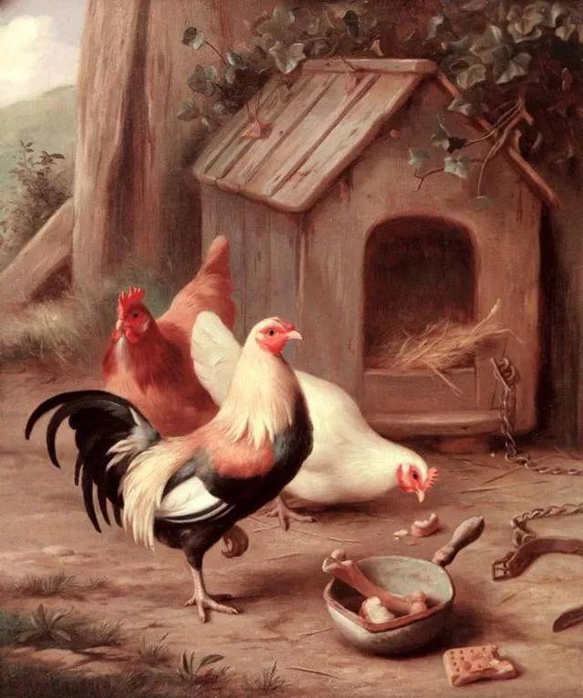 院子里的家禽,英国画家埃德加·亨特插图53