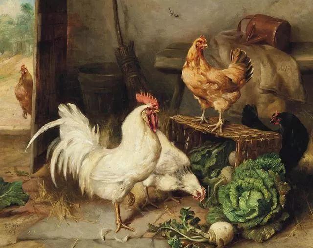 院子里的家禽,英国画家埃德加·亨特插图57