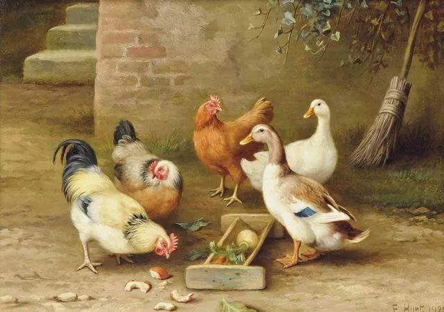 院子里的家禽,英国画家埃德加·亨特插图61