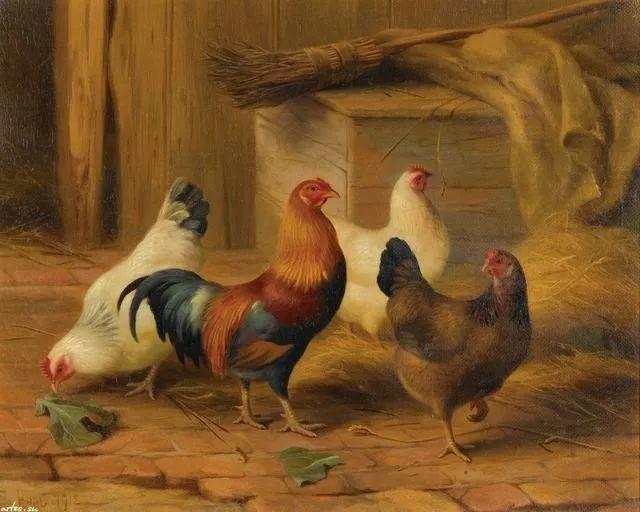 院子里的家禽,英国画家埃德加·亨特插图63