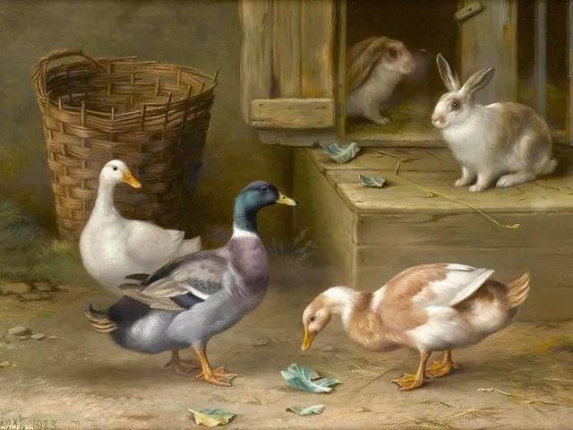 院子里的家禽,英国画家埃德加·亨特插图65
