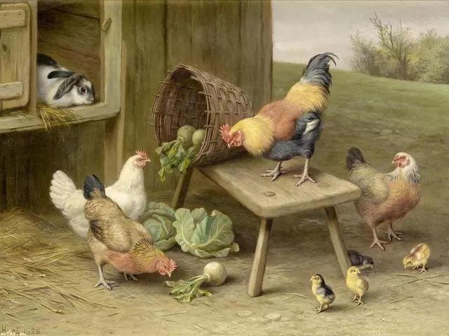 院子里的家禽,英国画家埃德加·亨特插图67