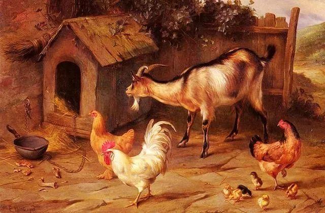 院子里的家禽,英国画家埃德加·亨特插图83
