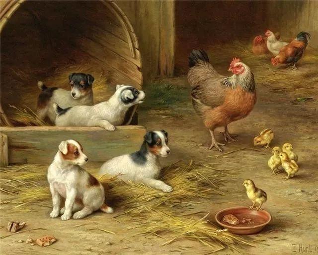 院子里的家禽,英国画家埃德加·亨特插图85