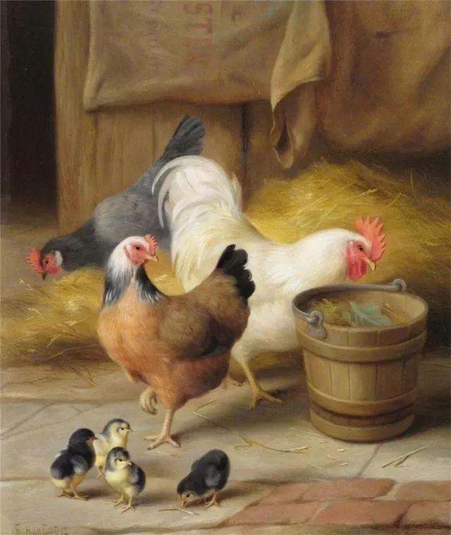 院子里的家禽,英国画家埃德加·亨特插图87