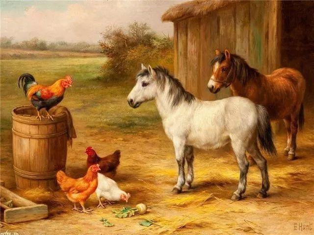 院子里的家禽,英国画家埃德加·亨特插图95