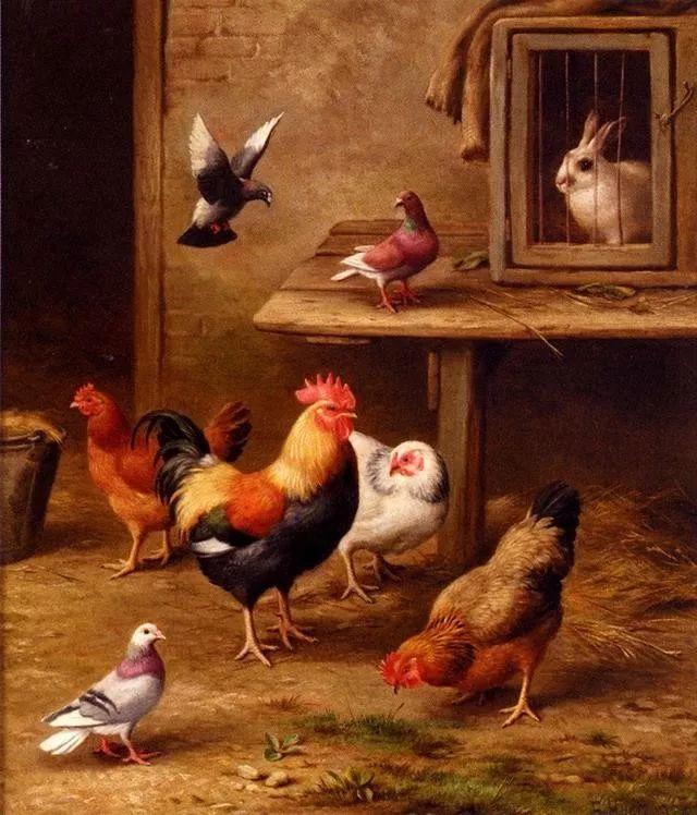院子里的家禽,英国画家埃德加·亨特插图103