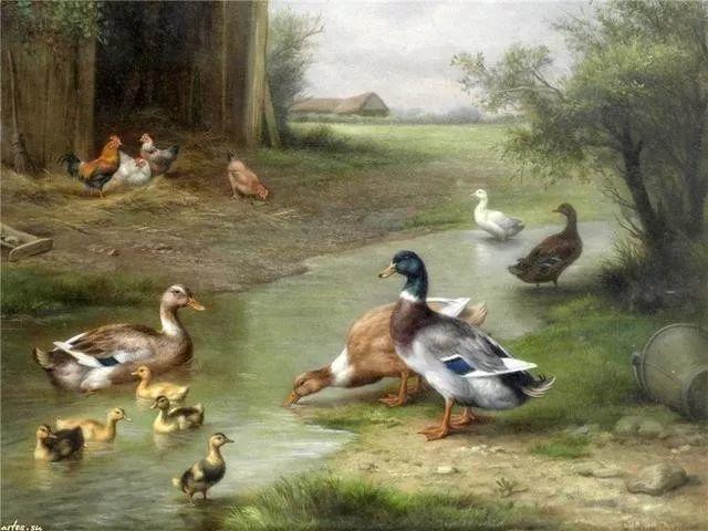 院子里的家禽,英国画家埃德加·亨特插图105