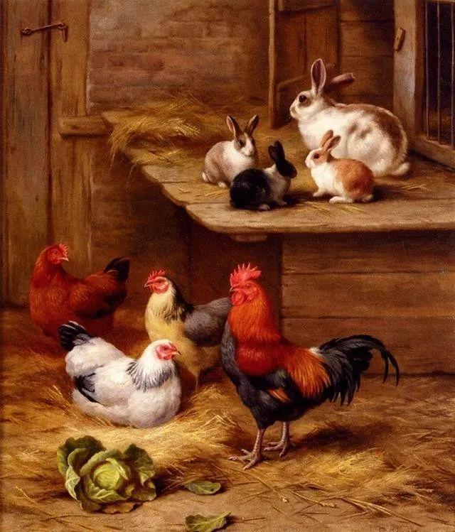 院子里的家禽,英国画家埃德加·亨特插图107