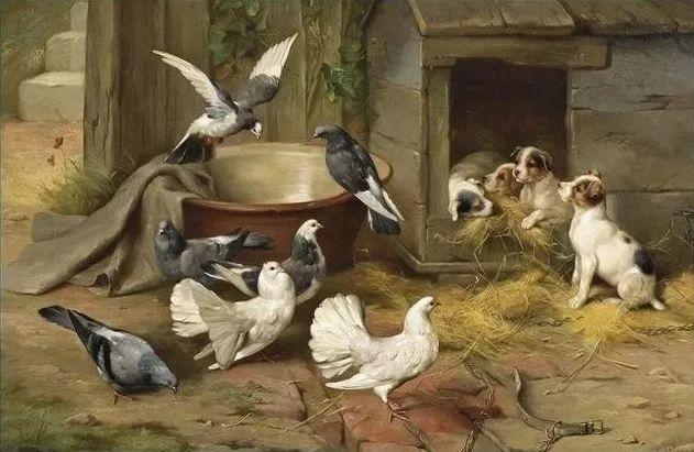 院子里的家禽,英国画家埃德加·亨特插图115