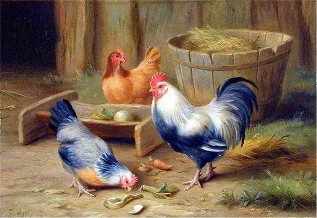 院子里的家禽,英国画家埃德加·亨特插图123