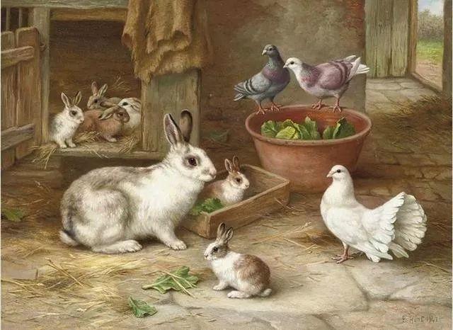 院子里的家禽,英国画家埃德加·亨特插图140