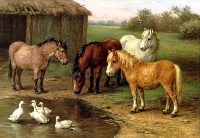 院子里的家禽,英国画家埃德加·亨特插图144
