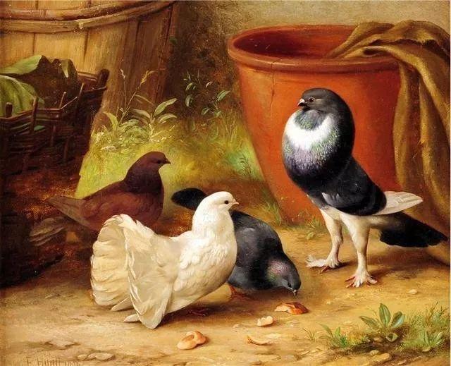 院子里的家禽,英国画家埃德加·亨特插图146