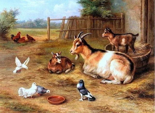 院子里的家禽,英国画家埃德加·亨特插图150