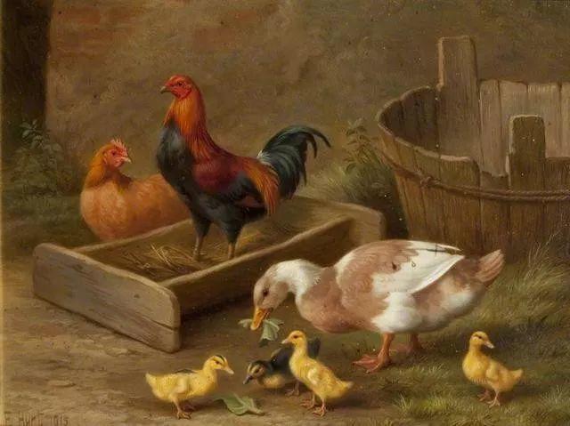 院子里的家禽,英国画家埃德加·亨特插图152