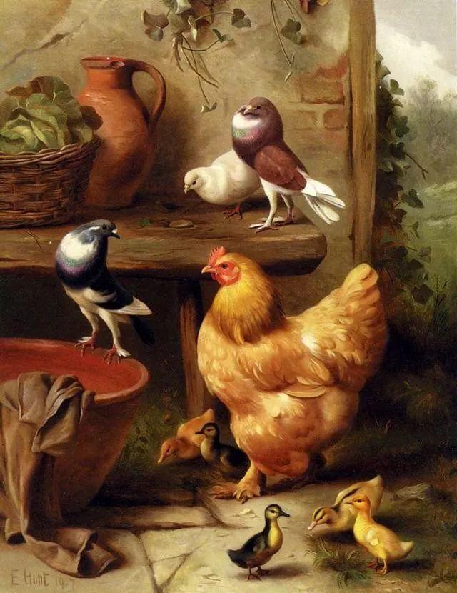 院子里的家禽,英国画家埃德加·亨特插图154