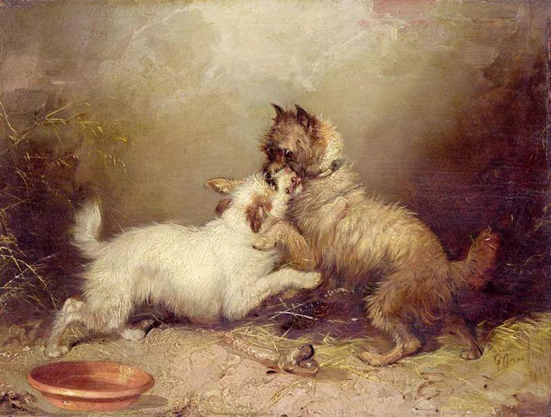 热爱动物,专长画家犬油画,英国画家乔治·阿姆菲尔德插图7