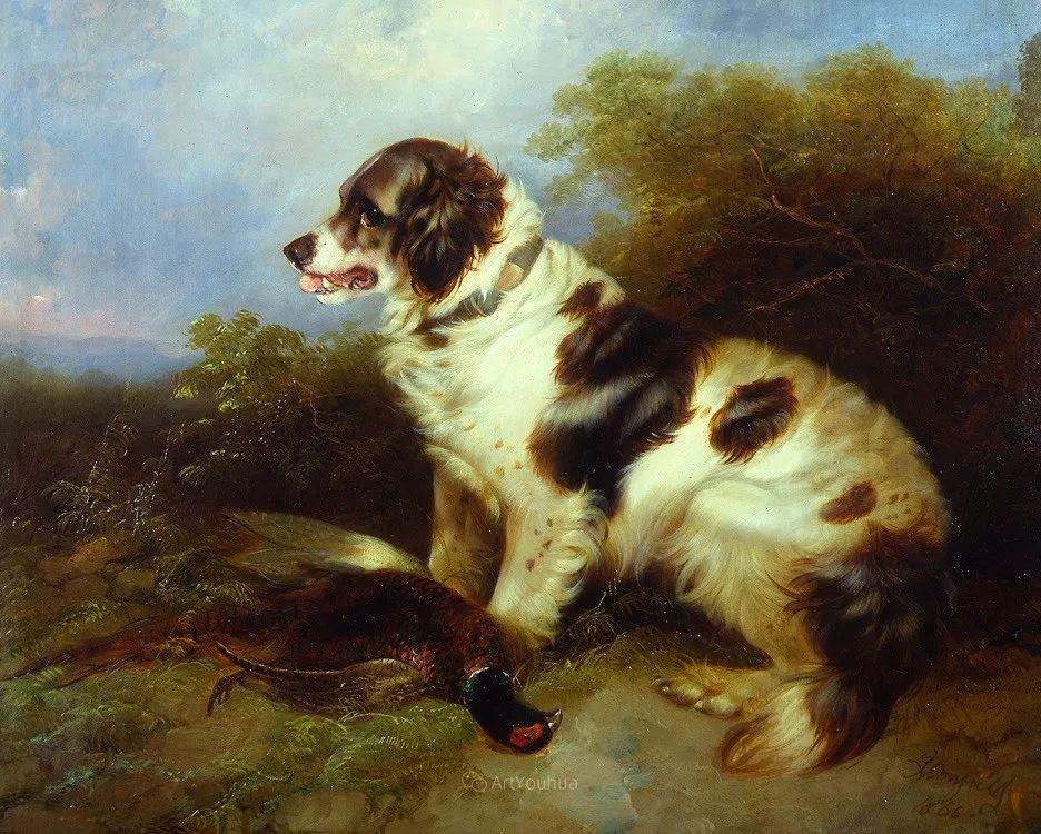 热爱动物,专长画家犬油画,英国画家乔治·阿姆菲尔德插图9