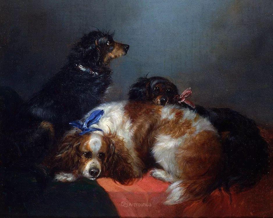 热爱动物,专长画家犬油画,英国画家乔治·阿姆菲尔德插图11