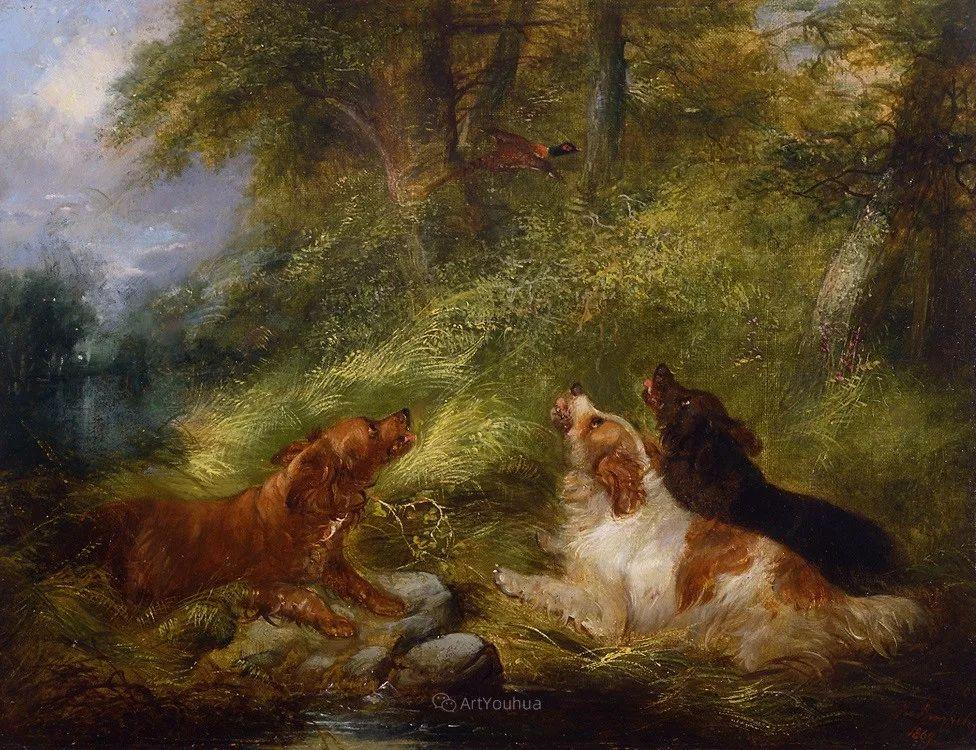 热爱动物,专长画家犬油画,英国画家乔治·阿姆菲尔德插图13