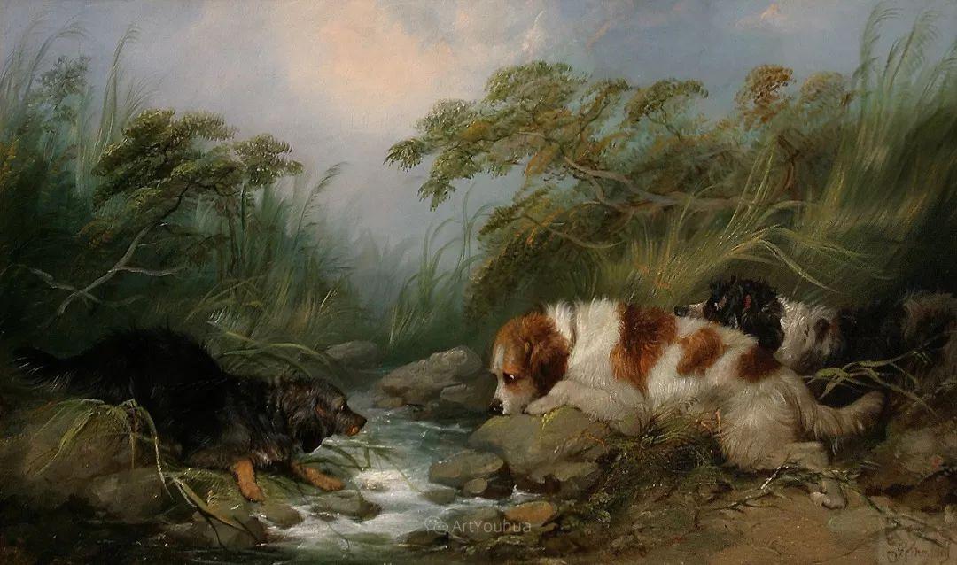 热爱动物,专长画家犬油画,英国画家乔治·阿姆菲尔德插图21