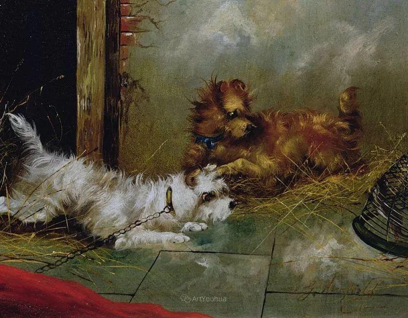 热爱动物,专长画家犬油画,英国画家乔治·阿姆菲尔德插图23