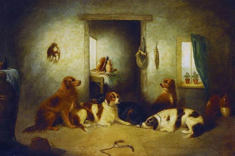热爱动物,专长画家犬油画,英国画家乔治·阿姆菲尔德插图25