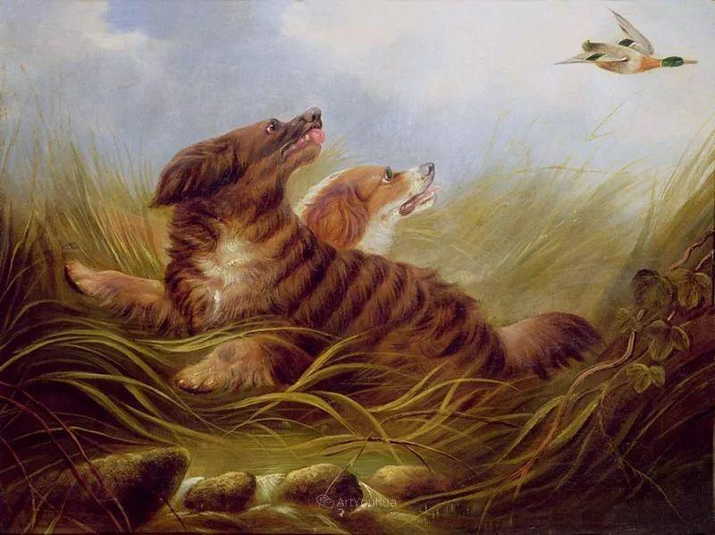 热爱动物,专长画家犬油画,英国画家乔治·阿姆菲尔德插图27