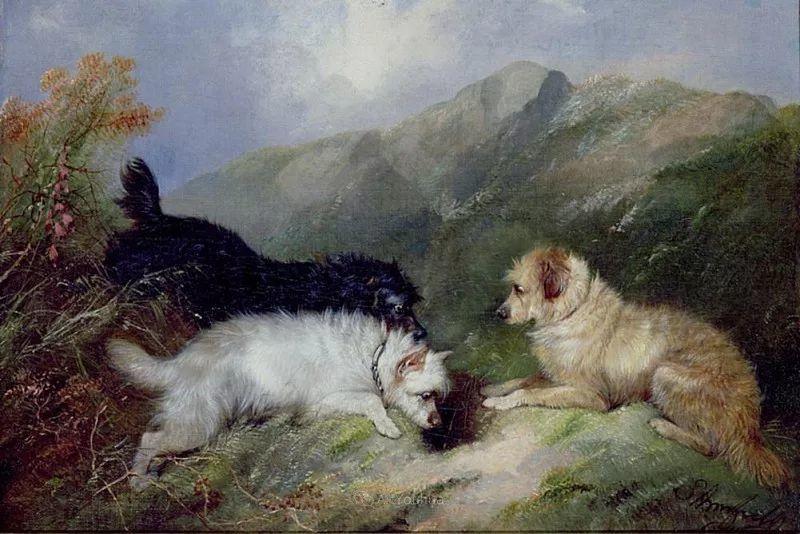 热爱动物,专长画家犬油画,英国画家乔治·阿姆菲尔德插图29