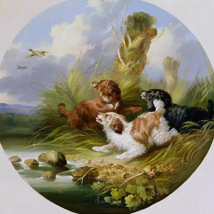 热爱动物,专长画家犬油画,英国画家乔治·阿姆菲尔德插图31