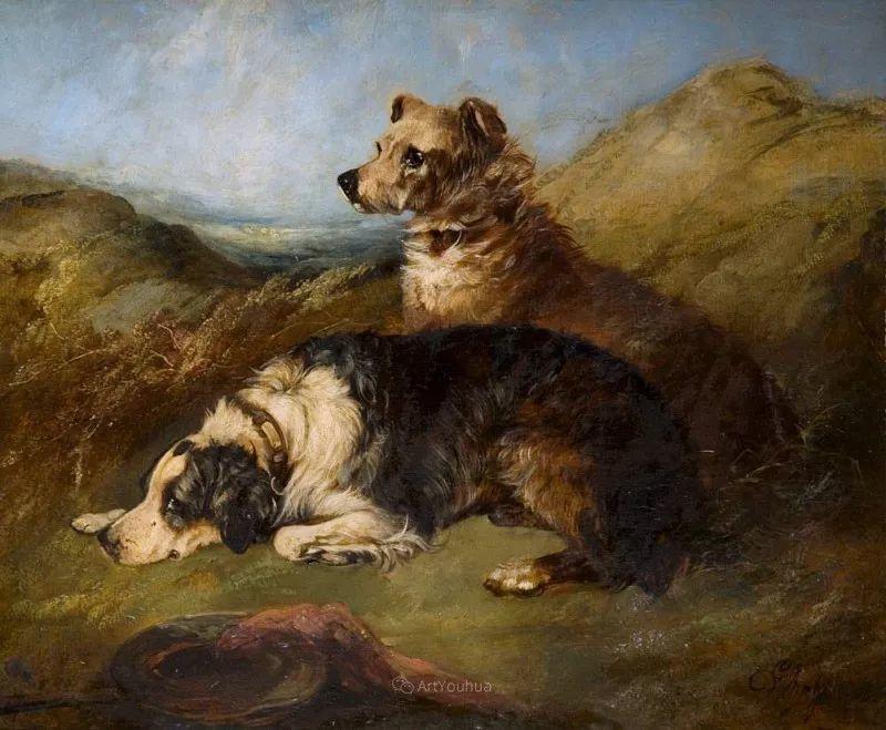热爱动物,专长画家犬油画,英国画家乔治·阿姆菲尔德插图33
