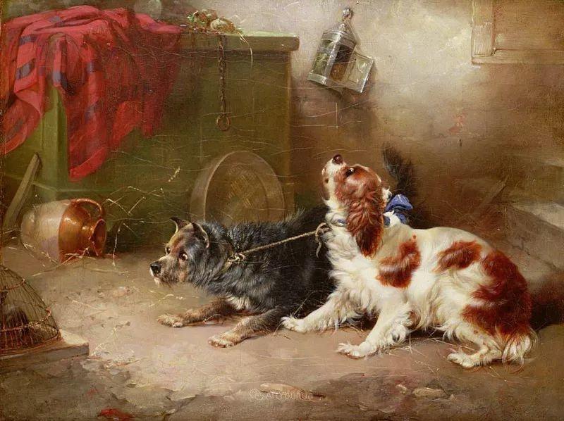 热爱动物,专长画家犬油画,英国画家乔治·阿姆菲尔德插图43