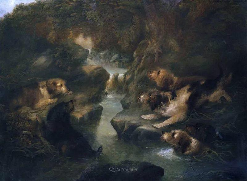 热爱动物,专长画家犬油画,英国画家乔治·阿姆菲尔德插图45