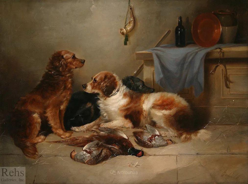 热爱动物,专长画家犬油画,英国画家乔治·阿姆菲尔德插图49