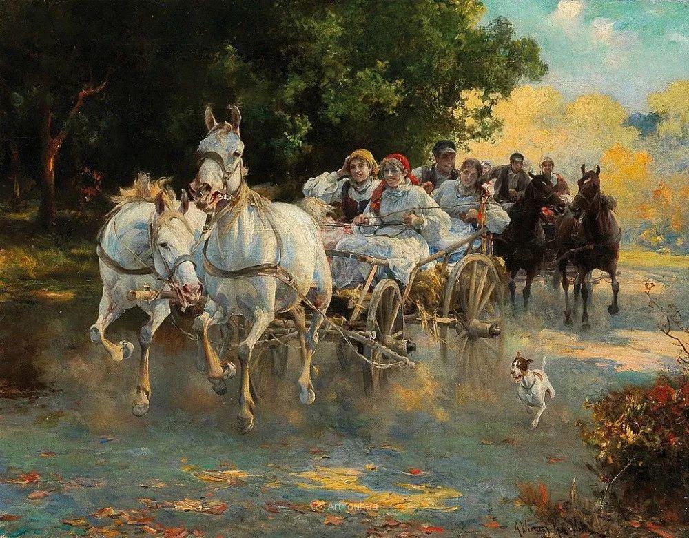 马拉雪橇,波兰艺术家科瓦尔斯基插图