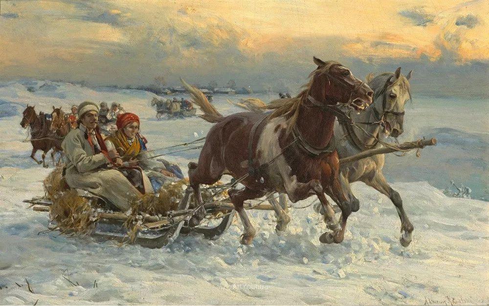 马拉雪橇,波兰艺术家科瓦尔斯基插图2