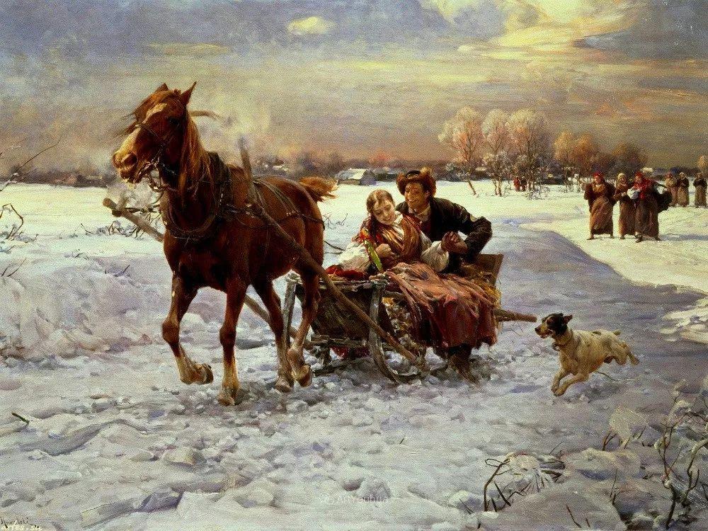 马拉雪橇,波兰艺术家科瓦尔斯基插图3
