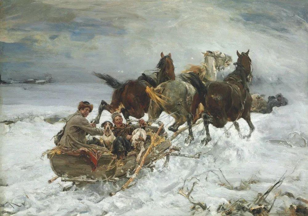 马拉雪橇,波兰艺术家科瓦尔斯基插图5