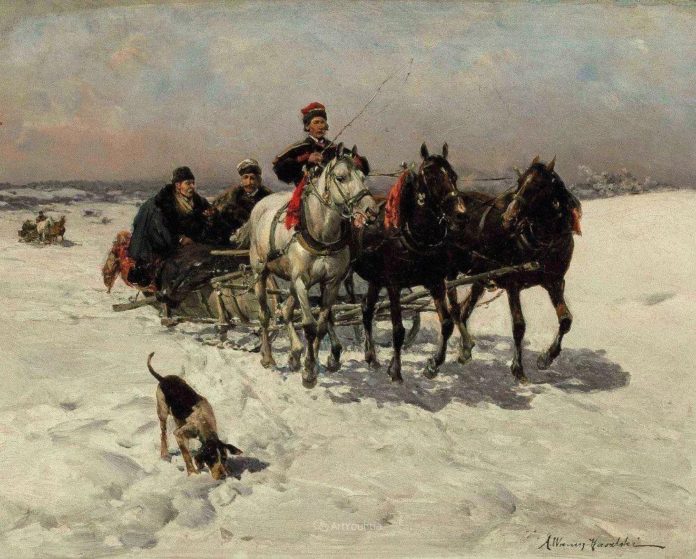 马拉雪橇,波兰艺术家科瓦尔斯基插图15