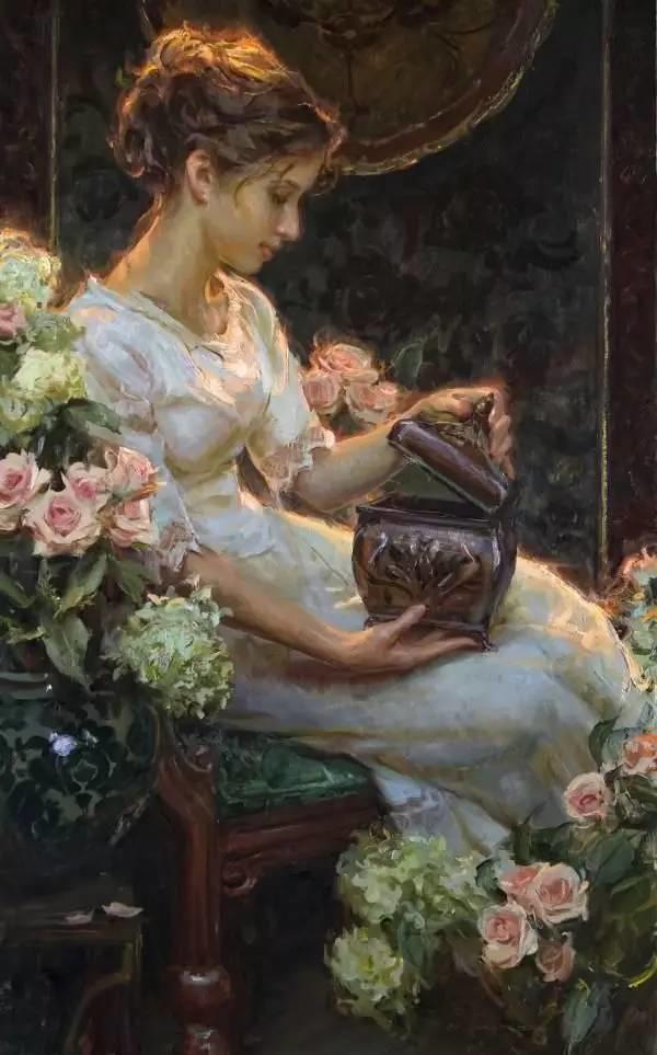油画里,光影中的美女,一美千年插图25