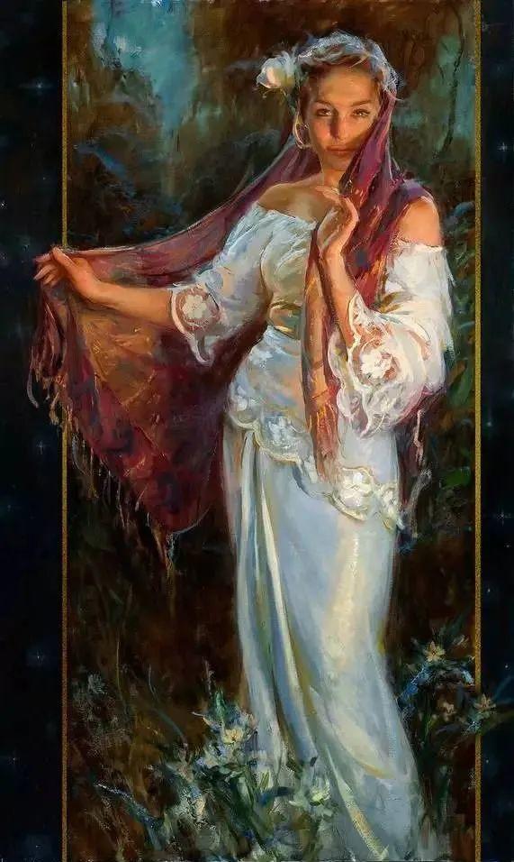 油画里,光影中的美女,一美千年插图83
