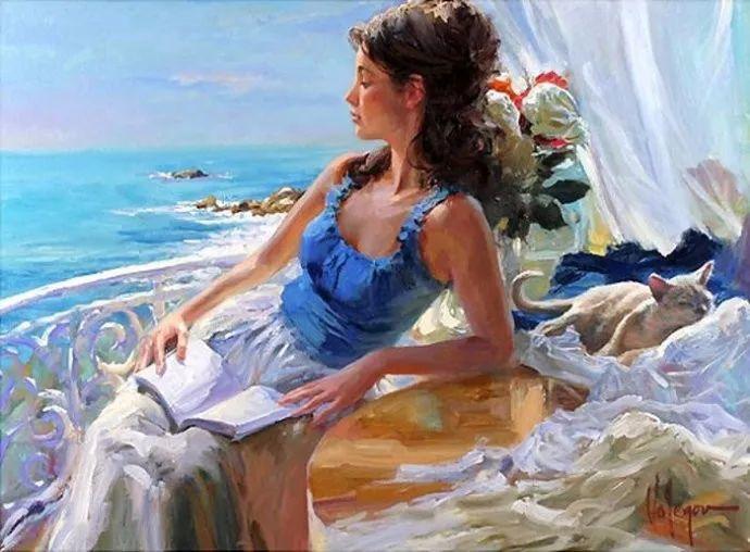 油画里,光影中的美女,一美千年插图85