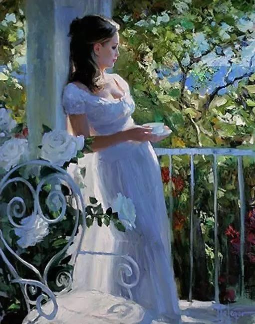 油画里,光影中的美女,一美千年插图87