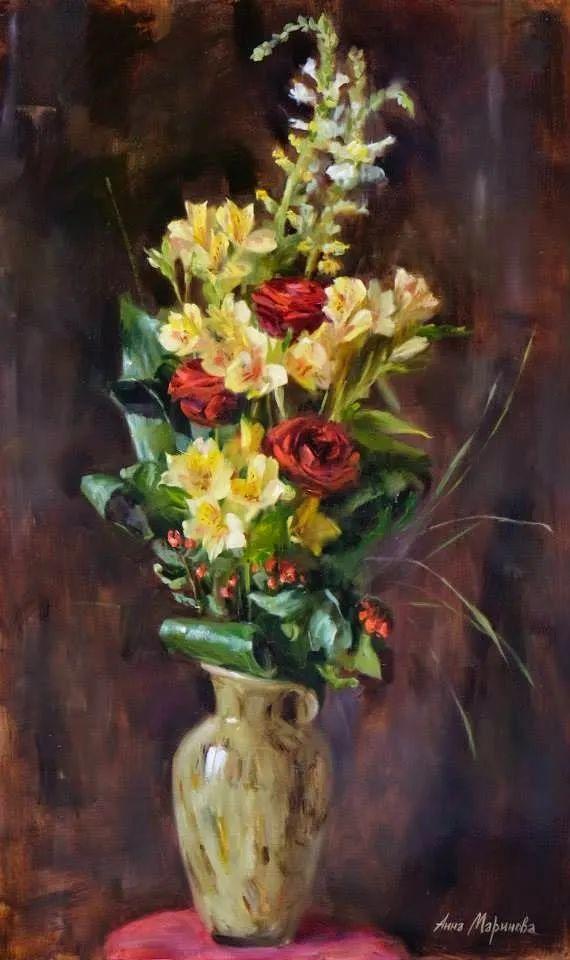 花卉与人物,俄罗斯女画家安娜·玛丽诺娃插图1