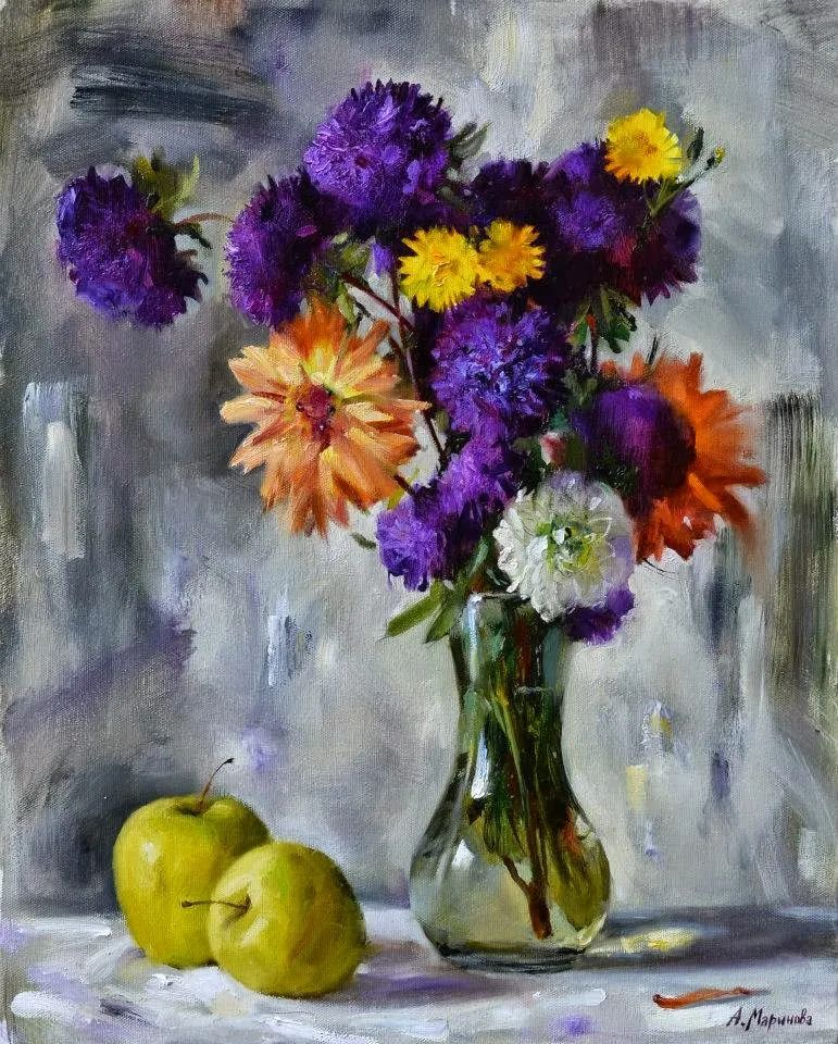 花卉与人物,俄罗斯女画家安娜·玛丽诺娃插图17