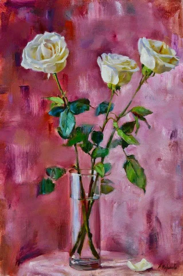 花卉与人物,俄罗斯女画家安娜·玛丽诺娃插图23