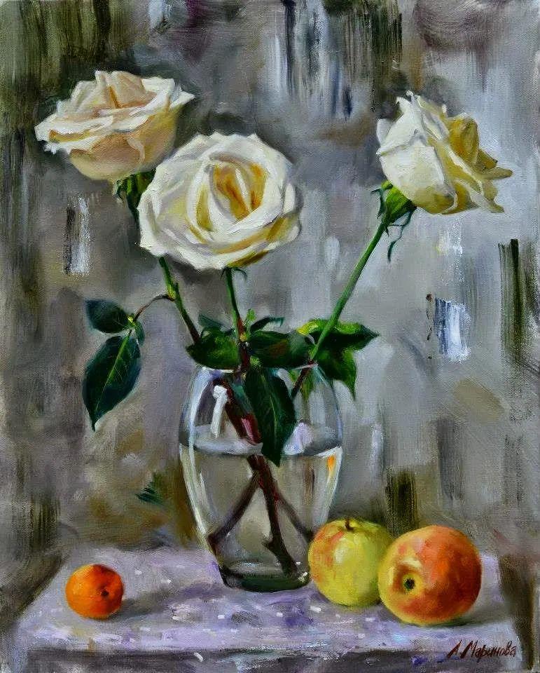 花卉与人物,俄罗斯女画家安娜·玛丽诺娃插图25